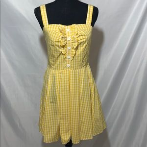 Hell bunny retro pinup yellow gingham dress  XS